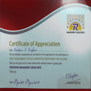 Certificate of Appreciation Graphology Courses | Handwriting Classes in Pimple Saudagar – VIVITSA Handwriting Academy | graphology courses | handwriting classes in pimple saudagar