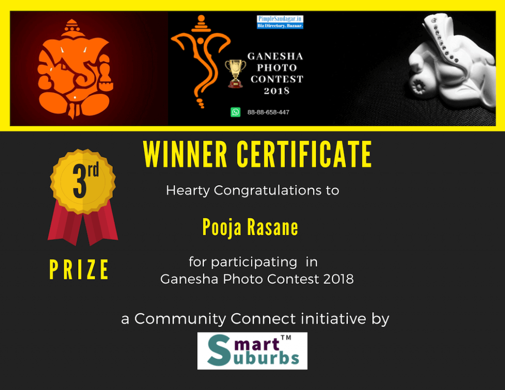 Ganesha Photo contest 2018 3rd winner Pooja Rasane  Eco-friendly Home Ganesha 2018 pimple saudagar   pooja rasane  eco-friendly home ganesha 2018 pimple saudagar